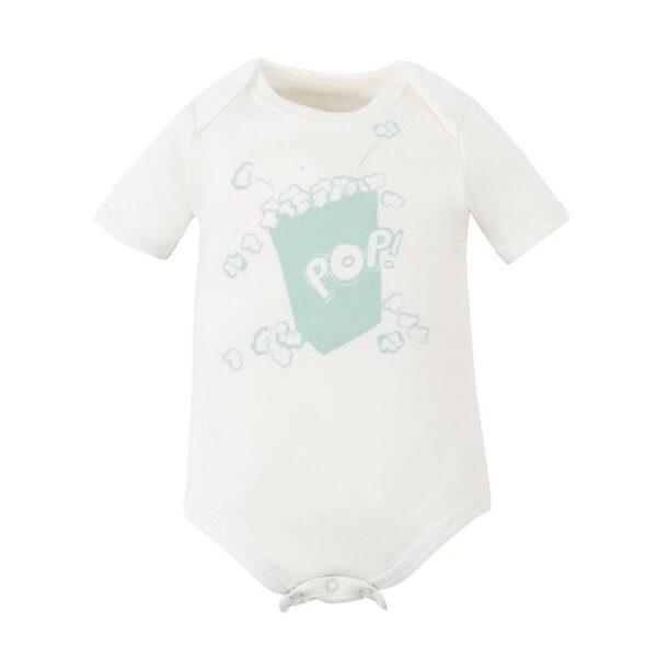 Baby Aqua Popcorn Puff Print Short Sleeve Lap Shoulder Bodysuit