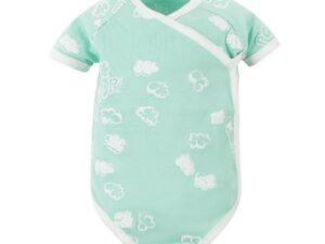 Baby Aqua Popcorn Puff Print Short Sleeve Side Snap Bodysuit