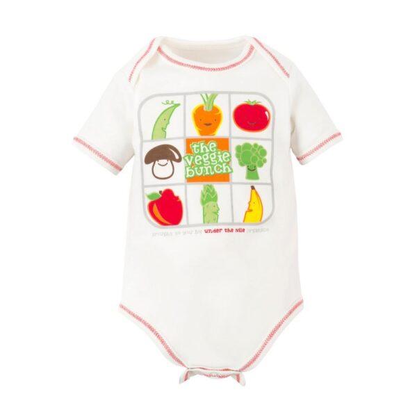 Baby Veggie Bunch Print Short Sleeve Lap Shoulder Bodysuit