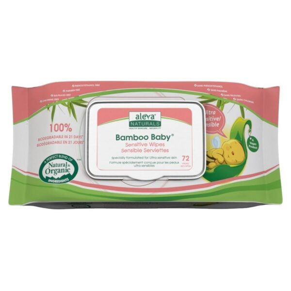 Bamboo Baby Sensitive Wipes, 72 Count
