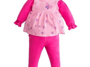 Butterfly Applique Long Sleeve Top and Ruffle Legging Set - Beetroot