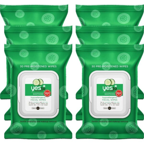 Cucumbers Hypoallergenic Facial Wipes, 30 Count Pack of 6
