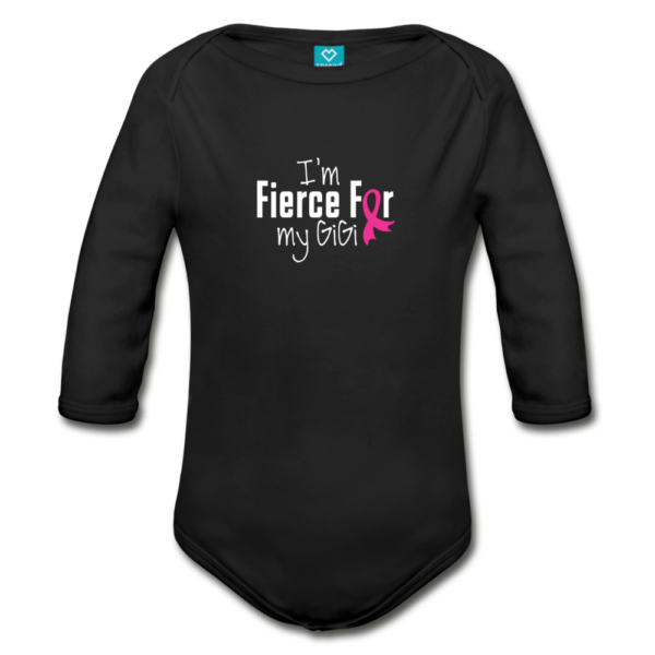 Fierce For GiGi Breast Cancer Awareness Organic Long Sleeve Baby Bodysuit (dark)