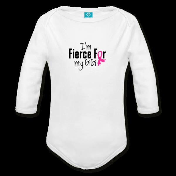 Fierce For GiGi Breast Cancer Awareness Organic Long Sleeve Baby Bodysuit (light)