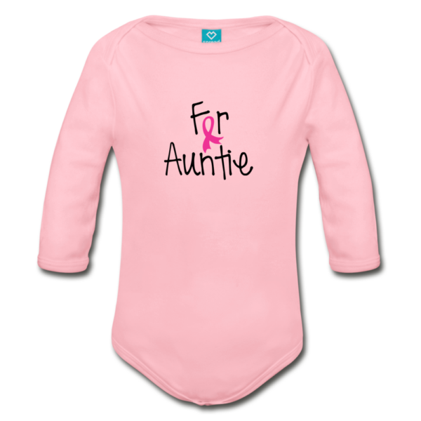 For Auntie Breast Cancer Awareness Organic Long Sleeve Baby Bodysuit