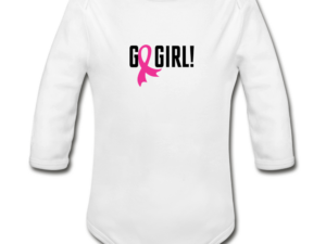 Go Girl - Breast Cancer Awareness Organic Long Sleeve Baby Bodysuit (light)