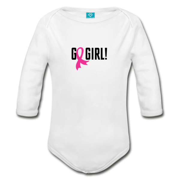 Go Girl - Breast Cancer Awareness Organic Long Sleeve Baby Bodysuit (light)