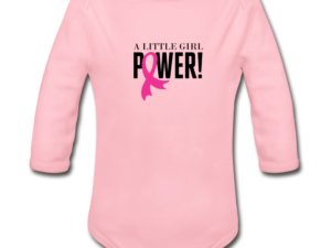 Little Girl Power Breast Cancer Awareness Organic Long Sleeve Baby Bodysuit (light)