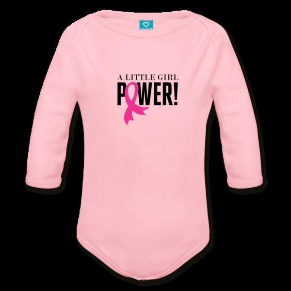 Little Girl Power Breast Cancer Awareness Organic Long Sleeve Baby Bodysuit (light)