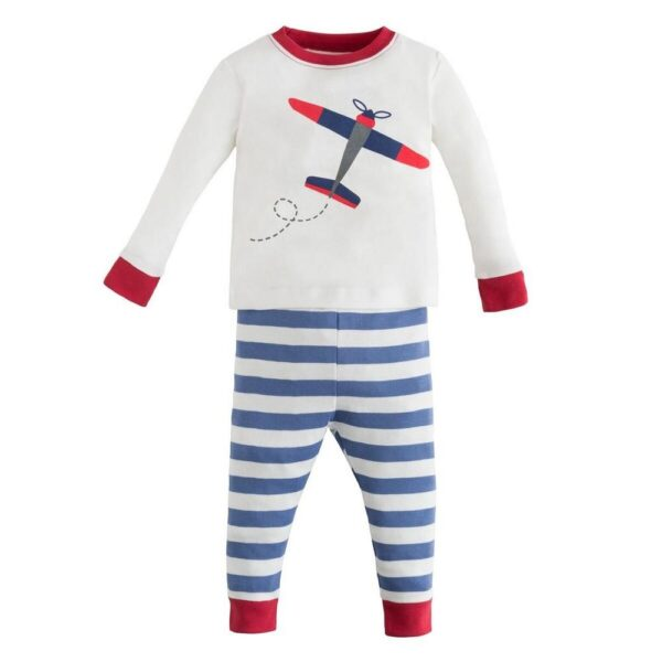 Long Johns - Airplane and Blue Stripes