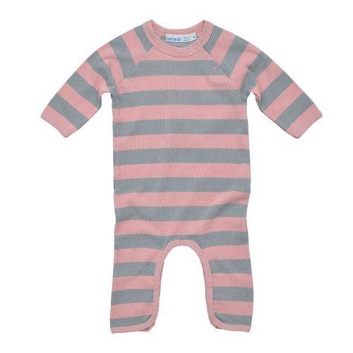 Long Sleeve Rugby Footless Romper - Misty Pink
