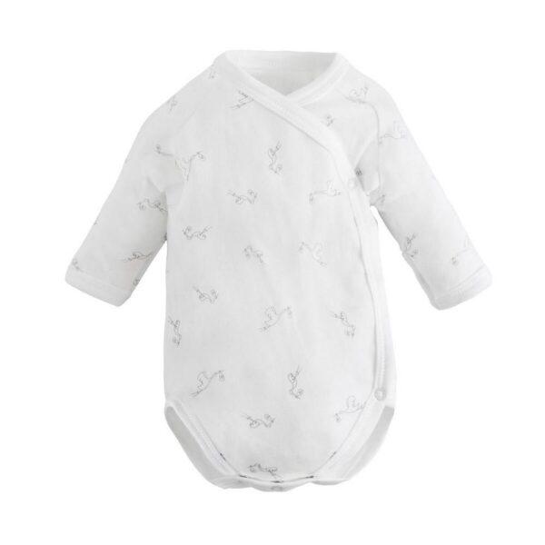 Long Sleeve Side Snap Bodysuit - White Stork