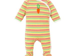 Multicolor Stripe Baby Side Snap Footie with Fold-over Mittens