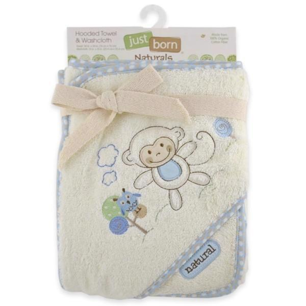 Naturals Hooded Towel and Washcloth Set - Blue Monkey