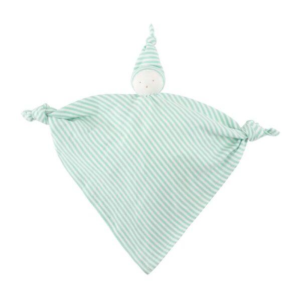 Organic Cotton Aqua Stripe Baby Hanky Doll