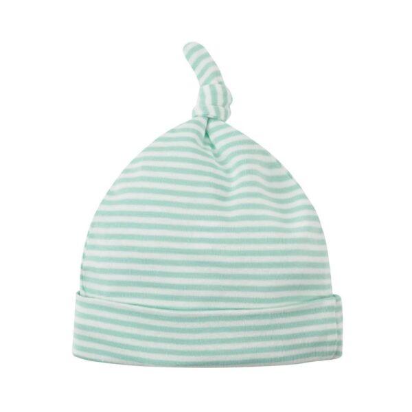 Organic Cotton Aqua Stripe Knot Baby Beanie Hat