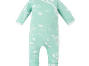 Organic Cotton Baby Aqua Popcorn Puff Print Side Snap Footie