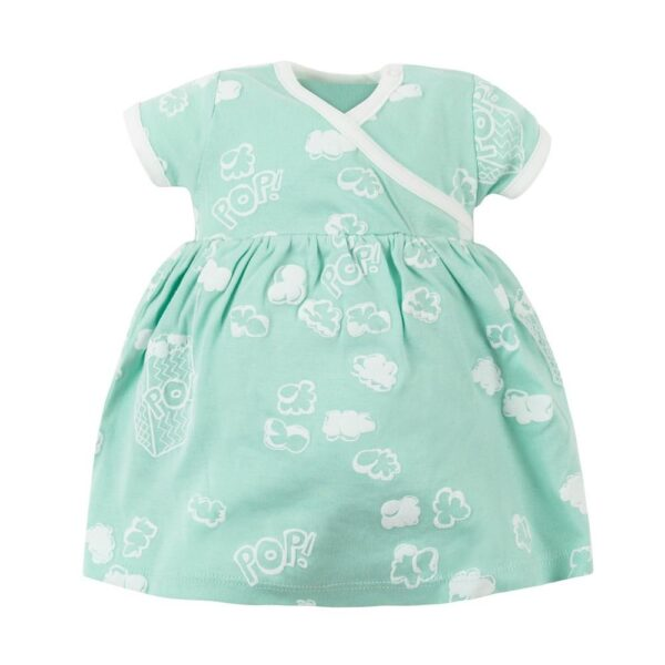 Organic Cotton Baby Girl Aqua Popcorn Puff Print Zen Dress with Bloomers