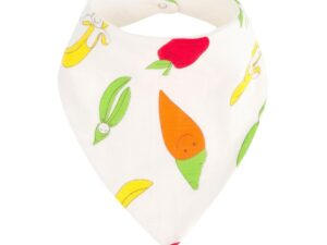 Organic Cotton Fruit and Veggie Print Bandana Dribble Bib