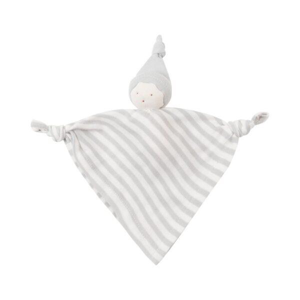 Organic Cotton Gray Stripe Baby Hanky Doll