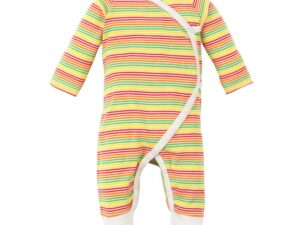 Organic Cotton Multicolor Stripe Side Snap Kimono