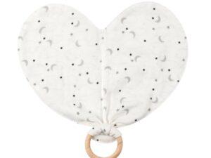 Organic Cotton Muslin Starry Night Heart Lovey Toy