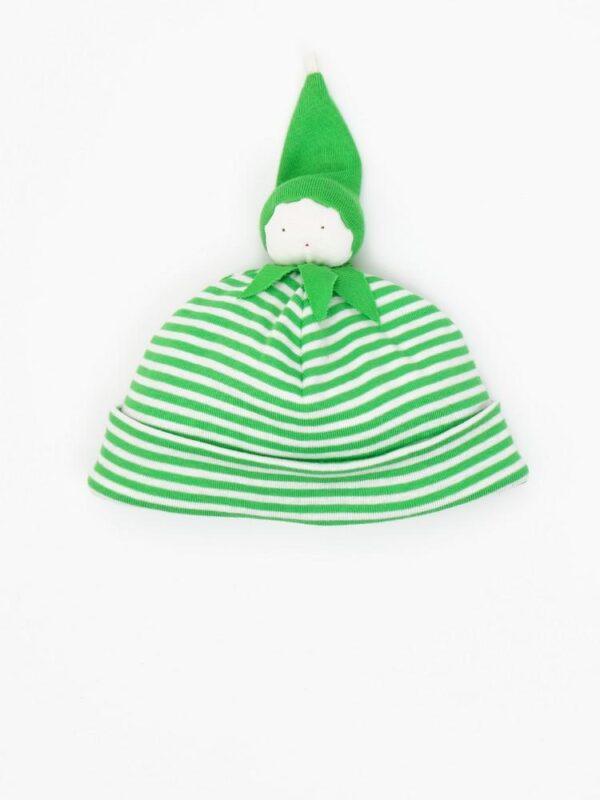 Organic Cotton Stripe Green Bean Baby Beanie Hat