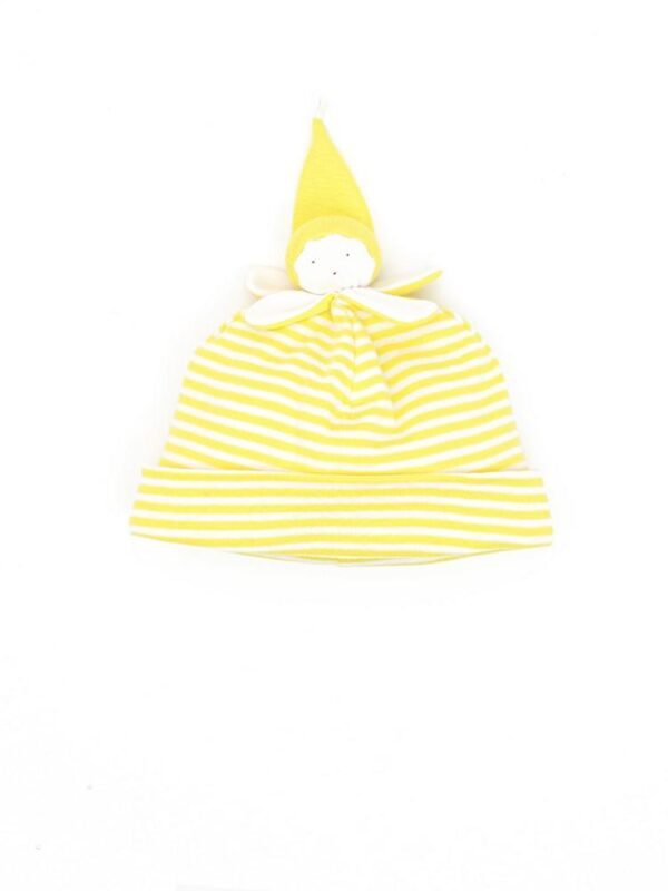 Organic Cotton Stripe Yellow Banana Baby Beanie Hat