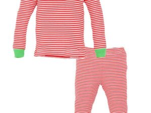 Organic Cotton Toddler Holiday Candy Cane Stripe Long Johns