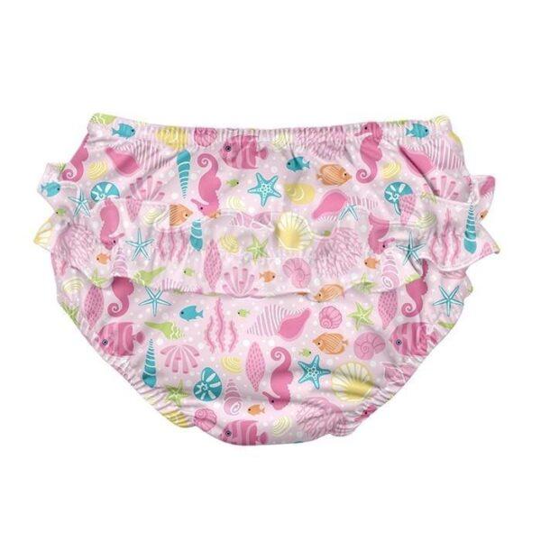 Ruffle Snap Reusable Absorbent Swimsuit Diaper-Pink Sealife