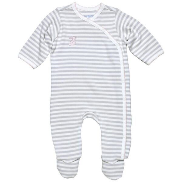 Side Snap Footie- Grey Stripe w/Pink Trim