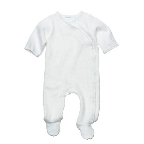 Side Snap Footie, Off White w/Gray Coverstitch - 6M