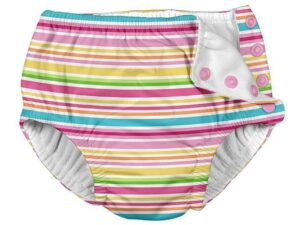 Snap Reusable Absorbent Swimsuit Diaper-Pink Ministripe