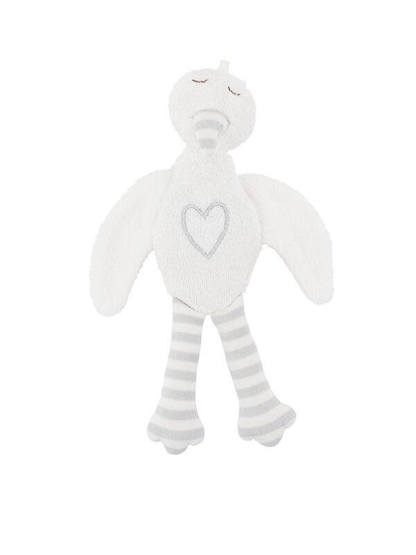 Stuffed Stork Plush Animal Toy - Grey Embroidery