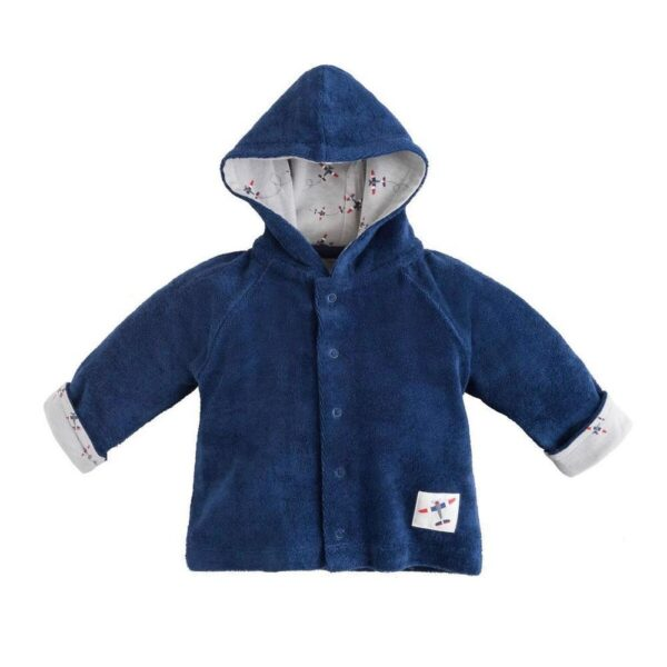 Terry Snap Front Hoodie - Navy