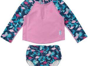 Two-Piece Rashguard Set With Snap Reusable Absorbent Swimsuit Diaper - Navy Flamingos