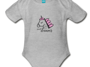 Unicorn (pink) Organic Short Sleeve Baby Bodysuit