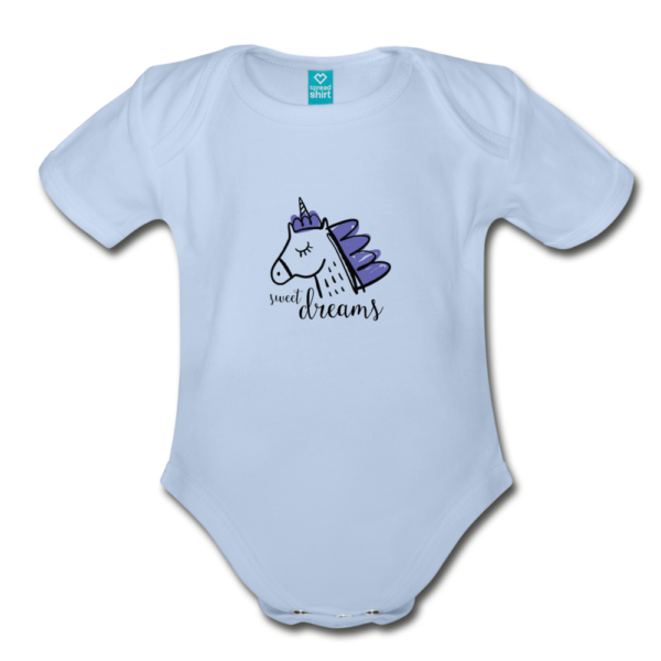 Unicorn (purple) Organic Short Sleeve Baby Bodysuit