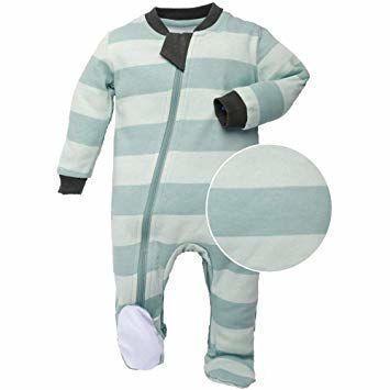 ZippyJamz Organic Cotton Footie - Stripes & Likes Teal