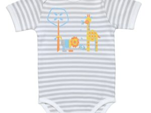 Lap Shoulder Babybody- Grey Stripe/Print