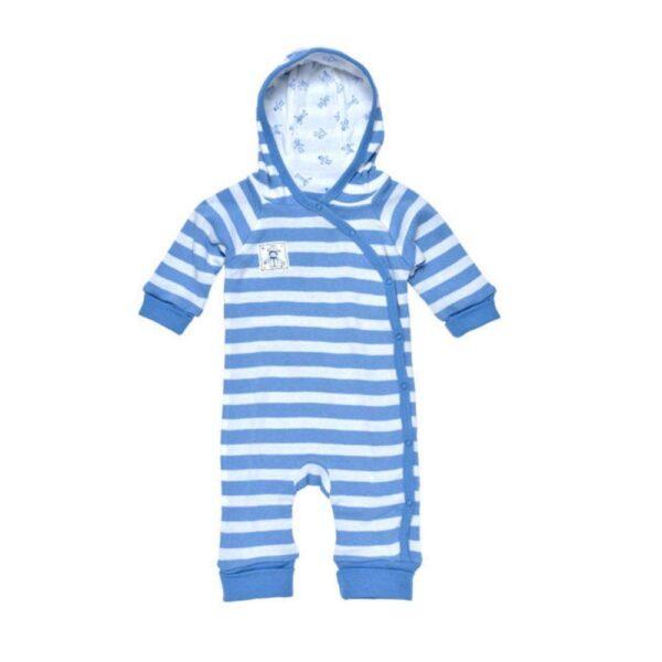 Lined Hooded Romper - Blue Stripes