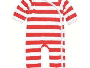 Side Snap Footie - Red Rugby Stripe