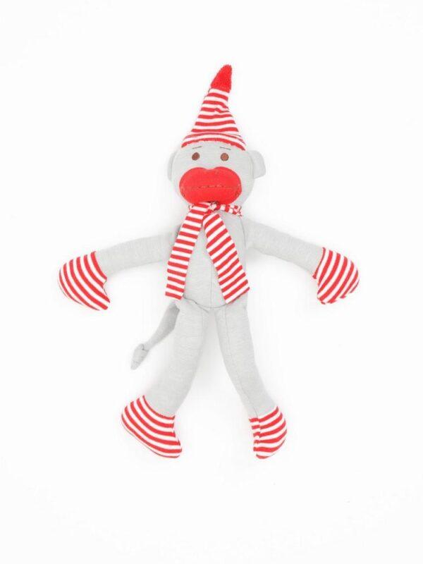 Organic Cotton Big Holiday Monkey Toy - 11 tall